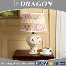 High grade hollow out ceramic hotel bedside table lamp