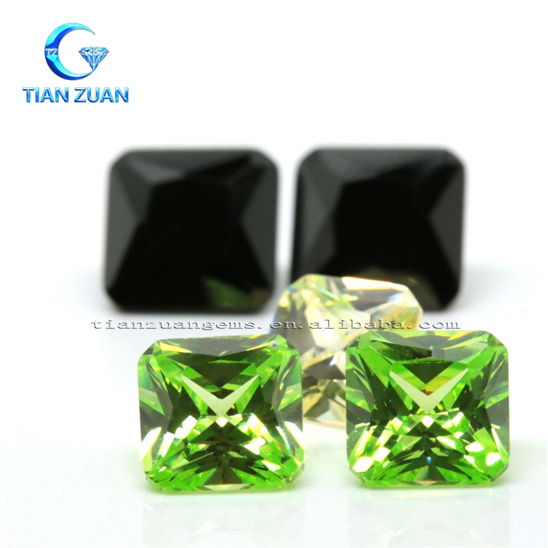 The cushion cut corner CZ stone light green or black best sale gemstone price