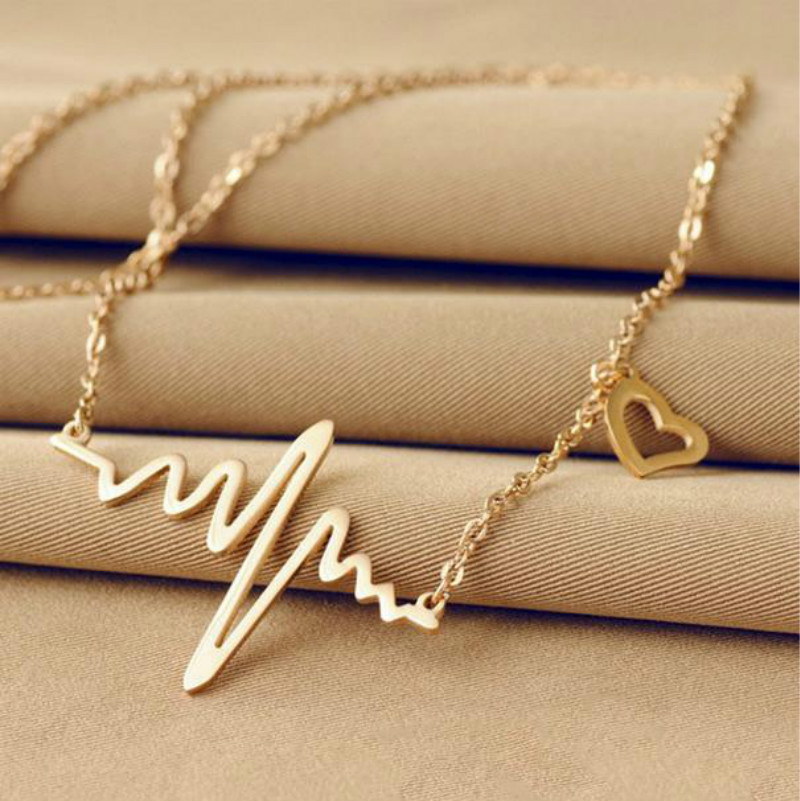 Fashion Gold / Rose Gold Stainless Steel Electrocardiogram Necklace Cute Heart Beat Pendant Personalized Necklace