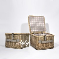 wicker basket for crafts with lid for storage