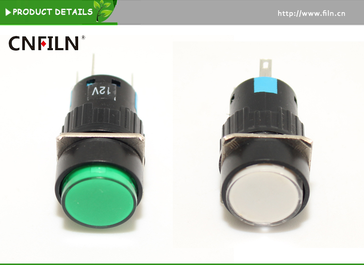 AD16 16mm plastci round push button switch LED momentary/latching