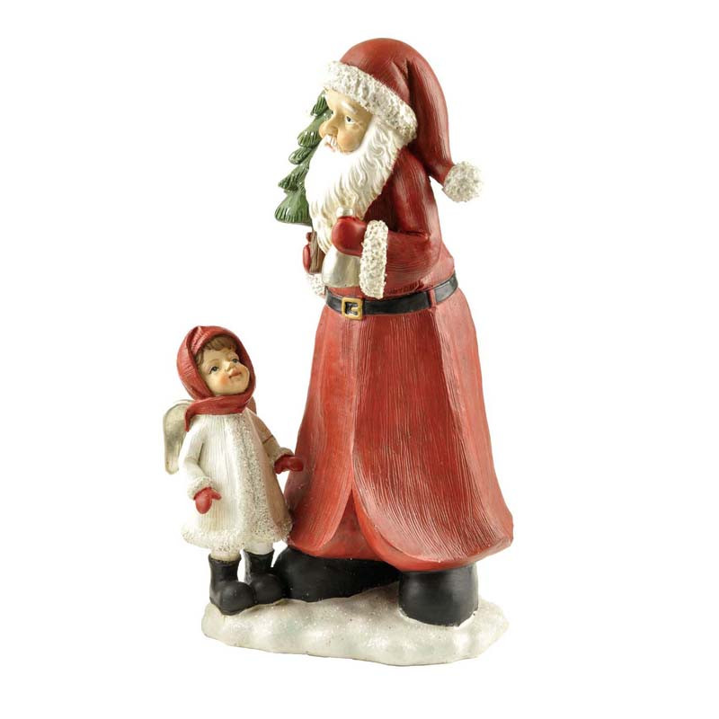 "Resin 10"" tall santa claus with girl figurine for indoor home decor"