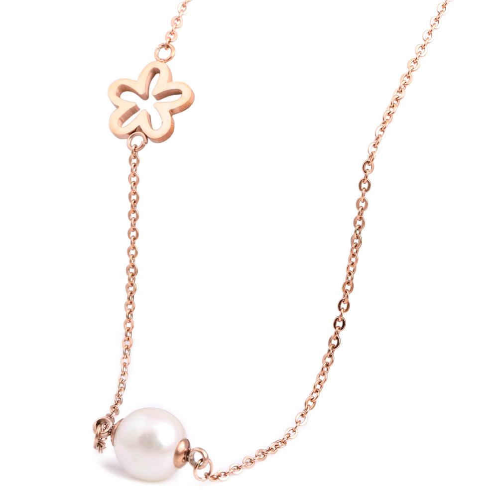 Korea Style O Stainless Steel Rose Gold Plated Chain Mini Stainless Steel White Pearl Pendant Necklace