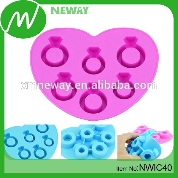 6 Rings Silicone Custom Ice Cube Tray, Fancy Ice Cube Tray