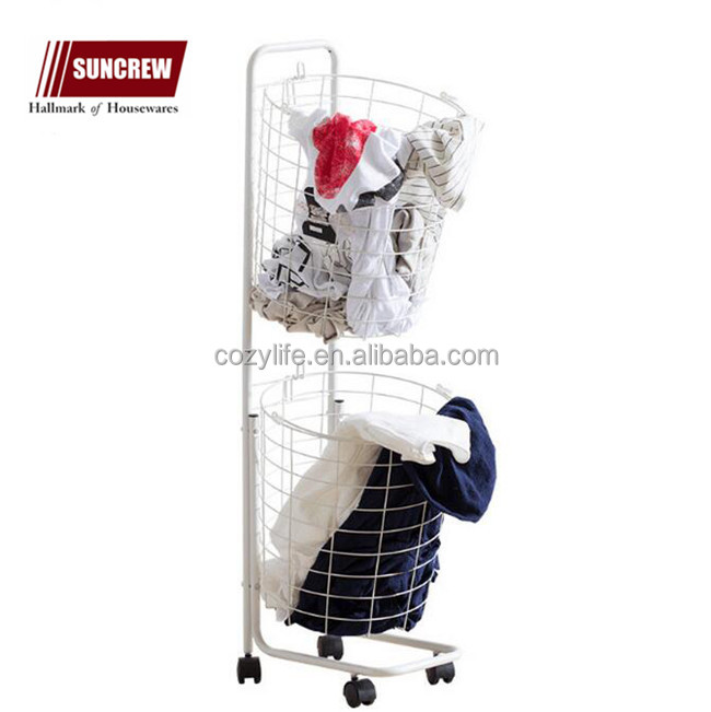 Laundry sorter hamper trolley with wheels iron tubes wire storage basket handy laundry basket
