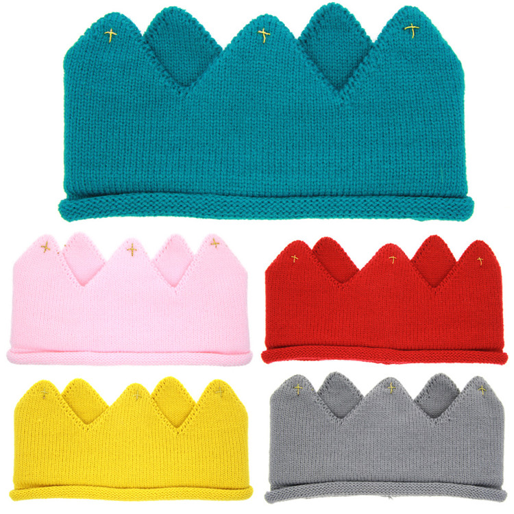 Baby Crown Hats Toddler Sweater Birthday Hat Newborn Baby Girls Boys Knitted Caps