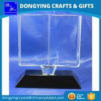 Black Base Clear Glass Book Shape Crystal Trophy
