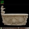Hand Carved Oval Stone Bathtub with Lady Statue