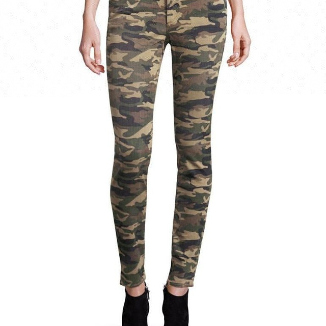 Royal wolf denim jeans factory military-inspired camouflage pants ladies super skinny women camo jeans