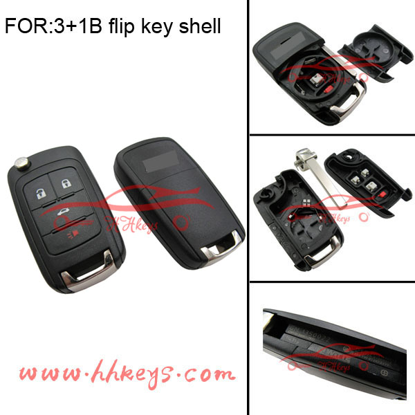 Hot sale 3+1 button remote key shell flip key cover case for Chevrolet Cruze