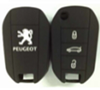 Hot selling silicon rubber key protector with 3 button for peugeot 508 flip key peugeot silicone car remote cover