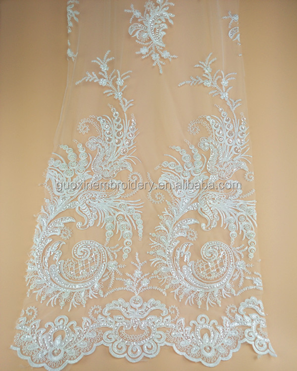 New design high quality beaded lace fabric handmade heavy work for wedding dress in ivory