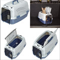 two door top load pet kennel with steel wire front door for easy loading of pets