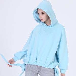 Women Dolman sleeve hoodie Elastic hem Bowknots Bandage White color Dropped shoulder Baggy hoodies
