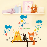Personalized eco-friendly PVC dormitory bedroom baby's room decorative three cats removable wall and window stickers
