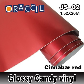 ROHS Certificate Oraccil Brand red 1.52*20m air free bubbles 3layers Glossy candy vinyl for Car Wrap