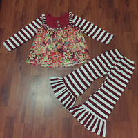 Boutique 2016 girls outfits wholesale children cotton clothing set floral dress giggle moon remake outfits