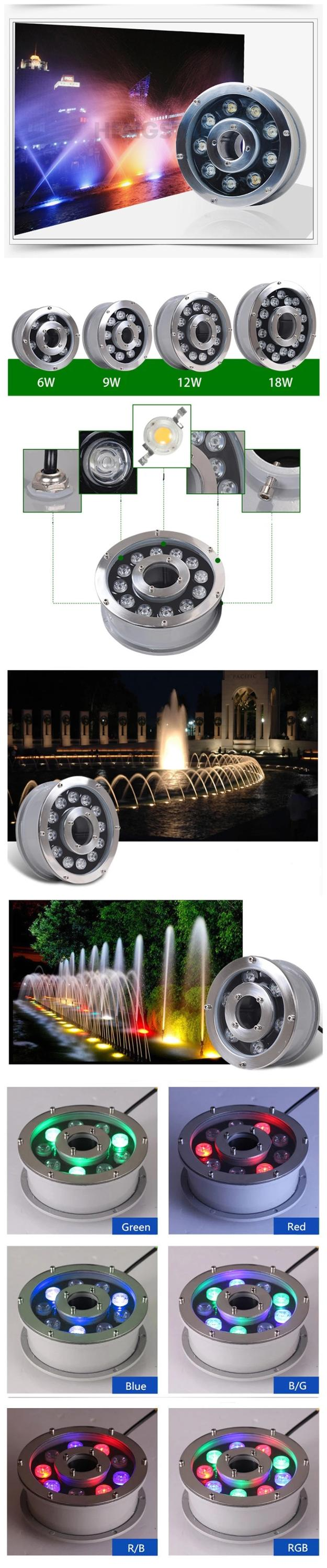 IP68 stainless steel ring  low voltage 12v  led rgb fountain nozzle and light