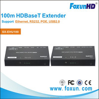 Foxun 4Kx2k 100m /328ft 5 play USB2.0 HDBaseT Extender over Ethernet KVM Extender support 3D & POE with IR control ,CEC