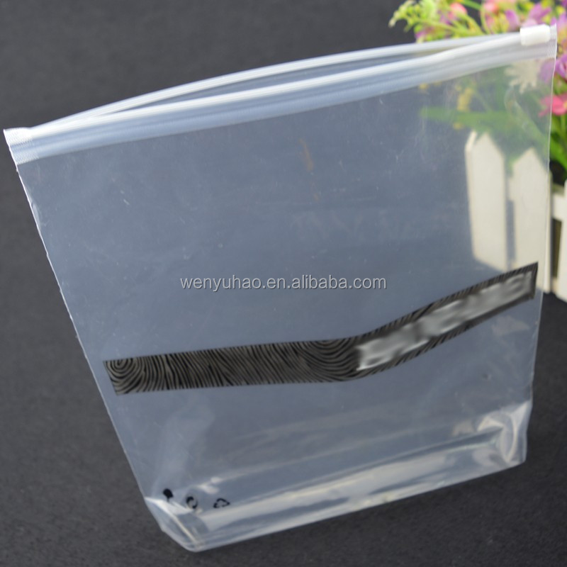 transparent PE plastic reusable zipper stand up printing bag with bottom gusset