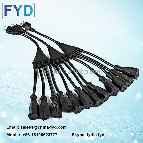 US Y Type Splitter Power Adapter Cord USA 5-15P to 2X 5-15R 3Pin Male To Double Female USA Power cord