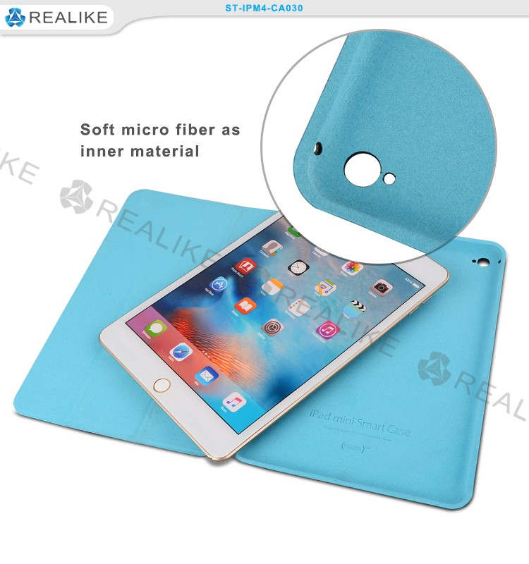 3 fold slim pu leather case for ipad mini 4,multi stands angles with auto wake and sleep