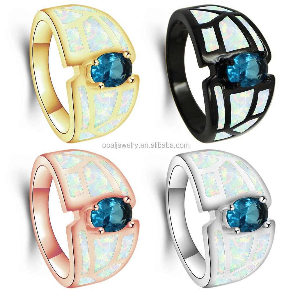 <strong>Black</strong> and gold plated opal ring silver,925 silver bue,white,and green opal ring size #7,#8,#9
