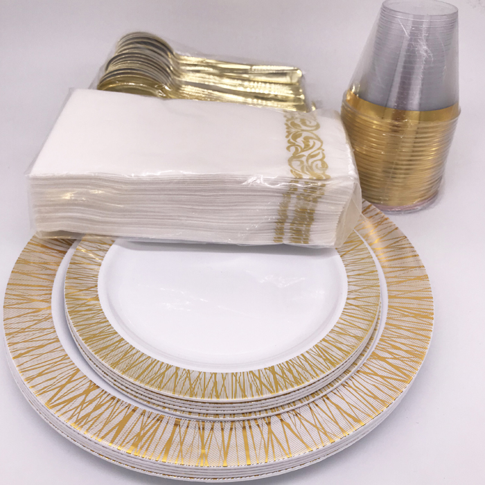 120 Piece Pack heavyweight Wedding Party Disposable Gold Plastic Plates Set