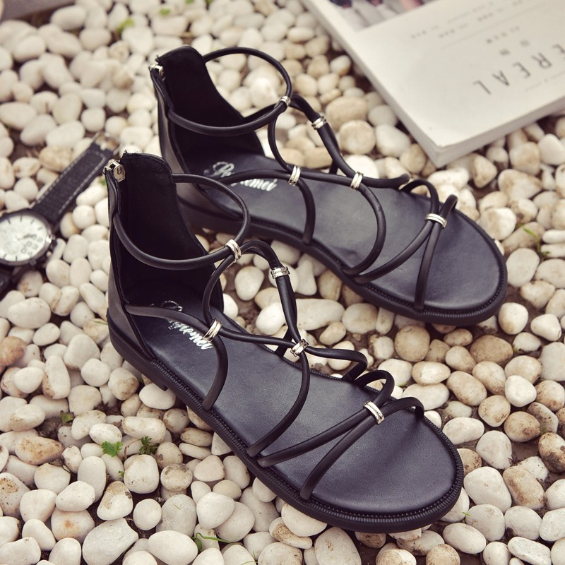 New Design Of Rome Black Strap Style Women Flat Sandals for Beautiful Girl