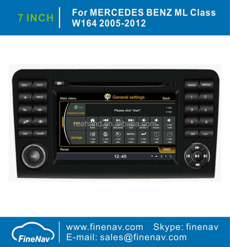 "Finenav 7"" Touch Screen Car Stereo <strong>DVD</strong> <strong>GPS</strong> For Benz <strong>W164</strong> X164 With <strong>GPS</strong> A8 Chipset 3G WiFi Radio Bluetooth iPod 1G CPU Free Map"