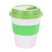 Plastic 12oz rubber lid coffee cup with band