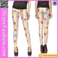 Cartoon Print Colorful Shiny Grils Leggings Sex