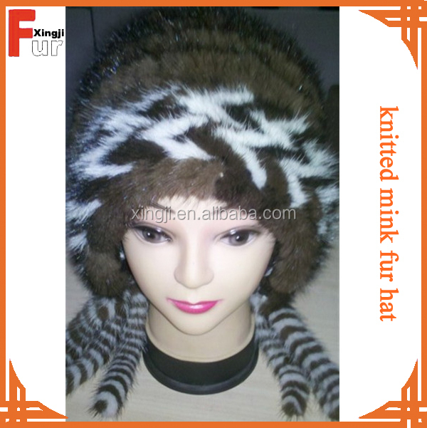 Real fur top quality knitted mink fur hat