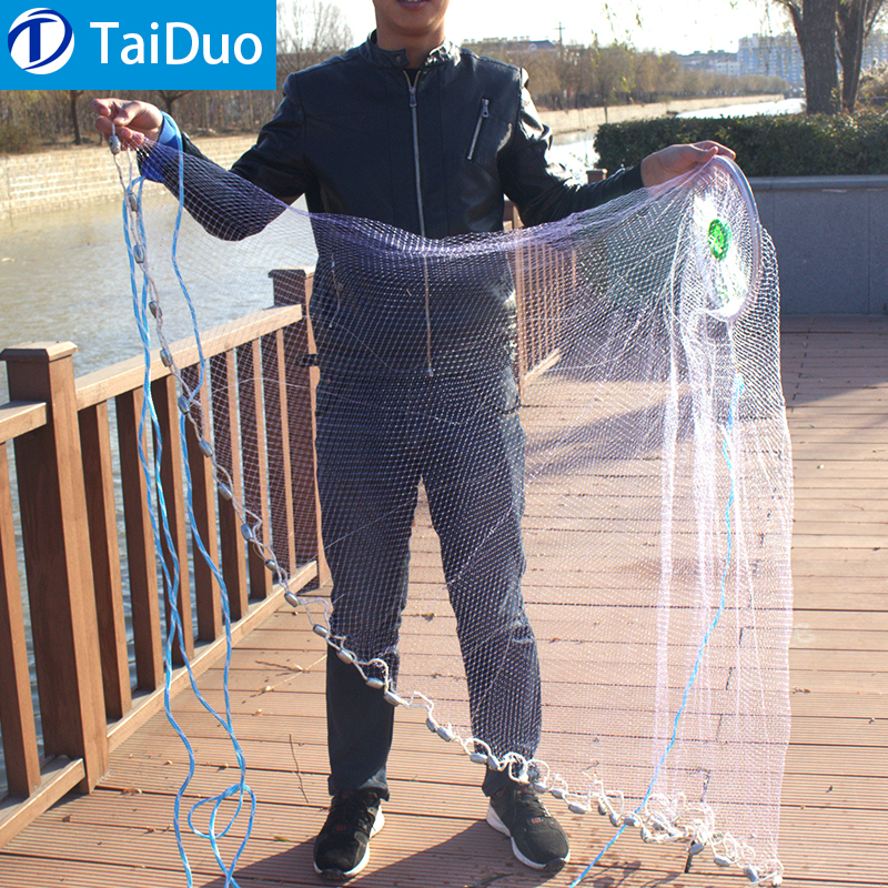 "3/8"" Mesh Sea Fishing Lead Sinker Hand Cast Fishing Net China Quick Throw Cast Net"