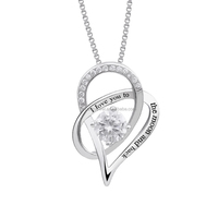 925 Sterling Silver I Love You to The Moon and Back love heart pendant necklace