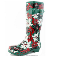 2016 top sale wellington safety rain boots pvc wholesale with flower printing