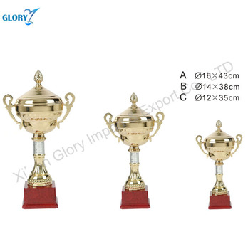 Fancy Red Base Golden Metal Cup Trophy