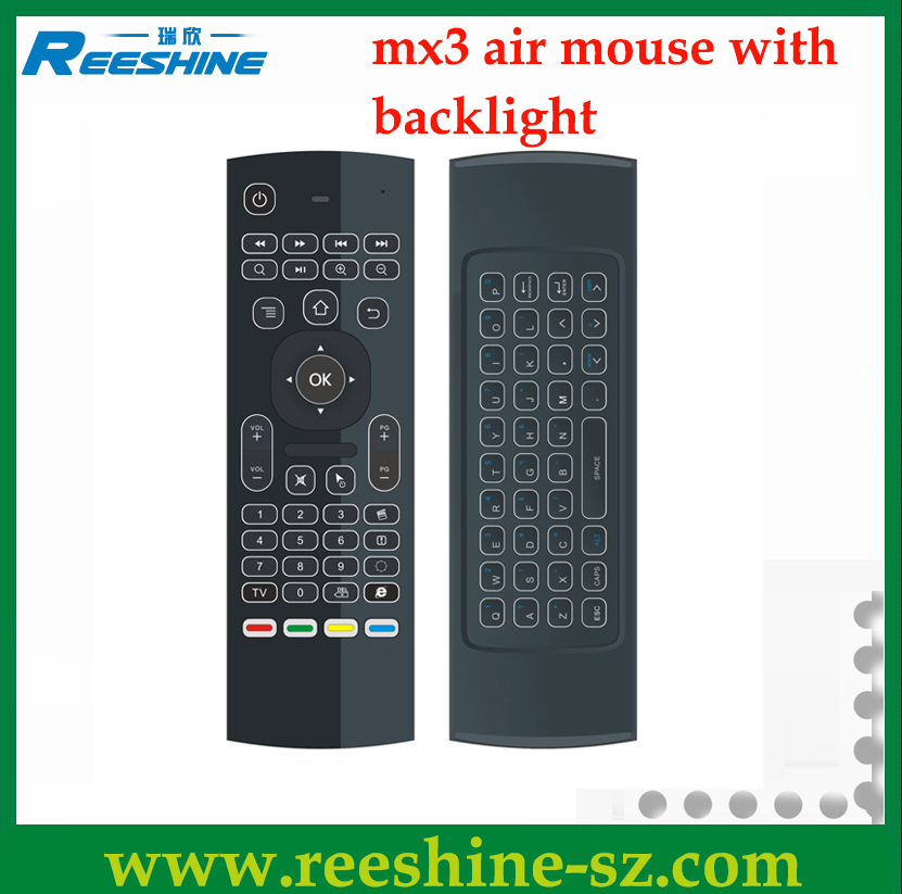 best selling mx3 Air Mouse Remote Control with backlit mini wireless keyboard Supports the systems of Android, Mac OS, Lilux