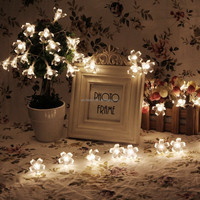 20Ft 6M 60 LED Peach Floral String Lights Battery Powered Christmas Party New year Decoration Farry Lights with remote