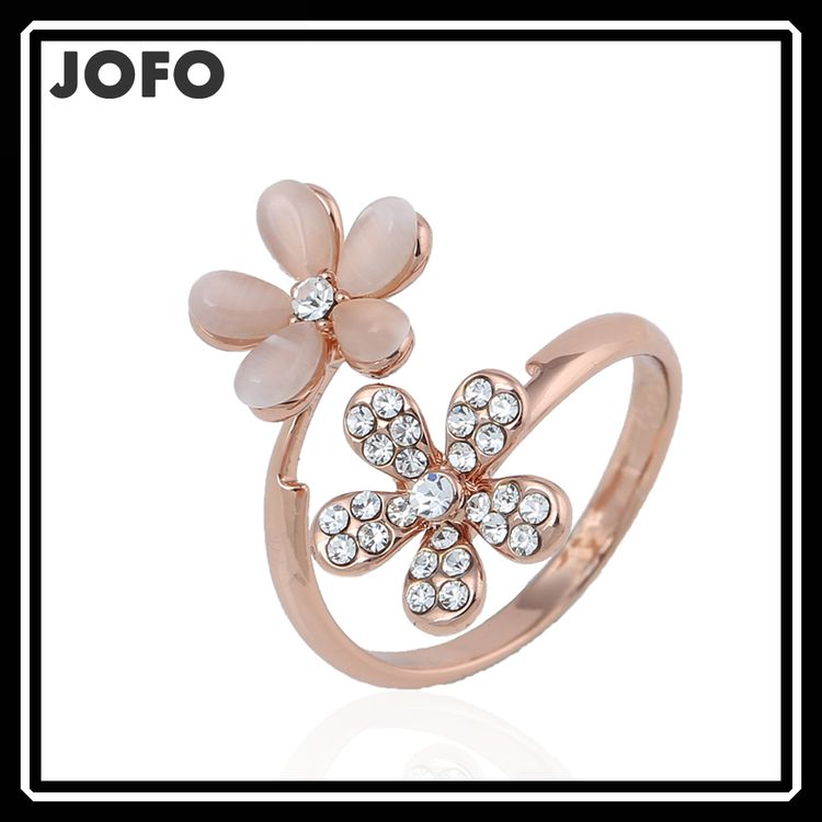 2015 New Design Ring Opal Double Daisy Flower Adjustable Cute Rhinestone Rings For Women Beauty Jewelry
