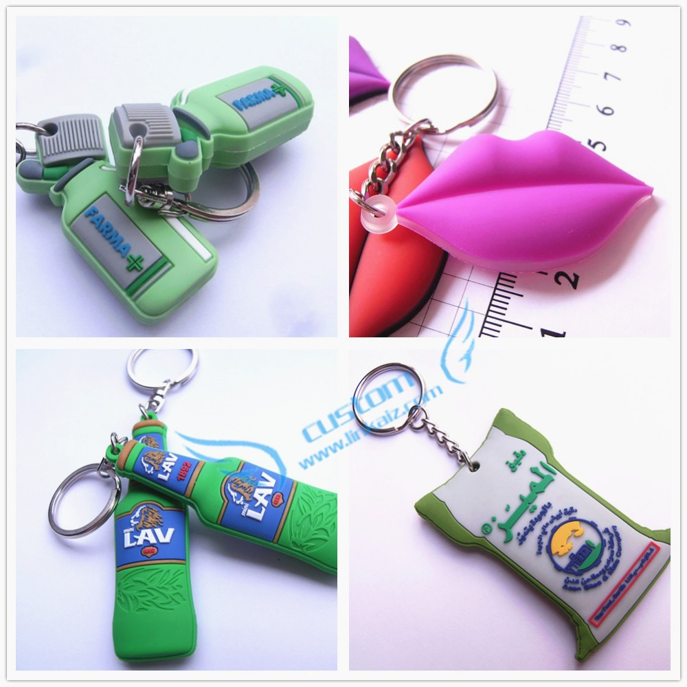 Fashion cheapest custom rubber keyring promotions 3d pvc keychain