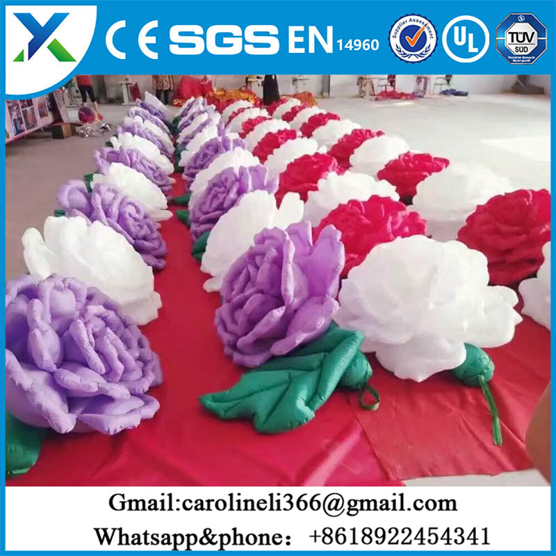 Colorful Oxford cloth Led lighting rose flower inflatable flower for Valentine's Day promotion