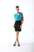hot sale black and blue satin xxl size women casual dress