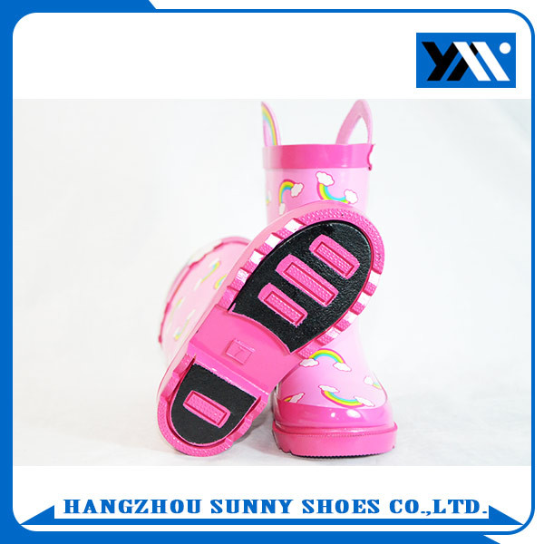 Fashion Pink Printed cute children rubber boots rain shoes for girls