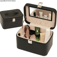 reasonable pu leather cosmetic case with key lock case material