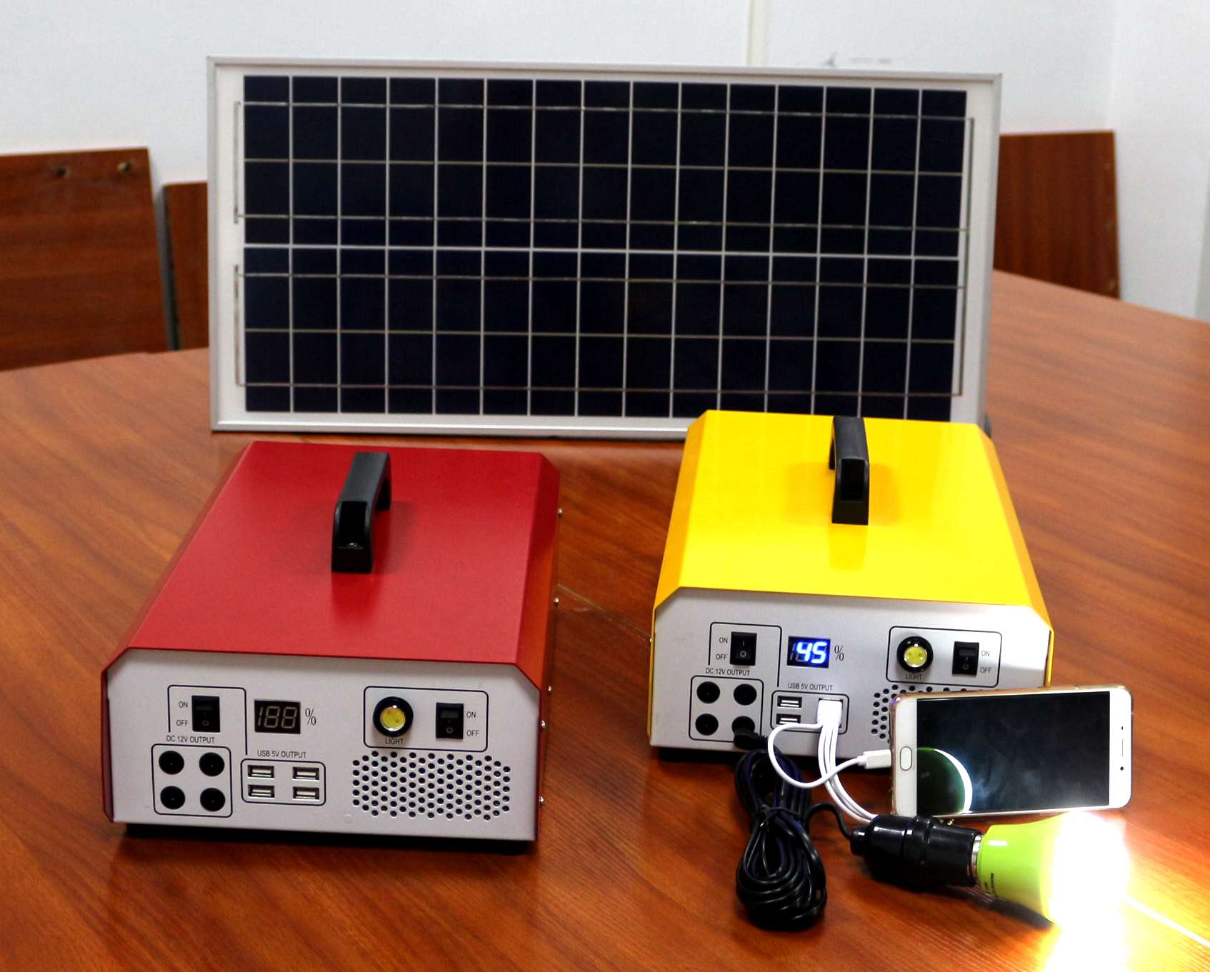 solar energy storage system with 40w solar panel 444wh battery and 500w modified sine wave inside