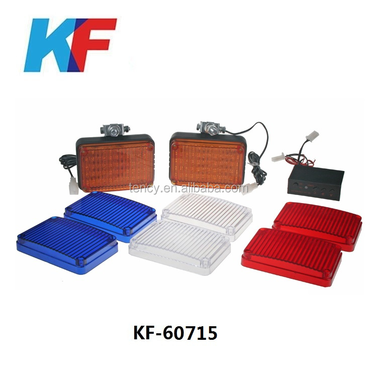 Square Led ambulance warning flashing lights,Ambulance Surface Mount Led strobe light,Clear LED with Extra Covers