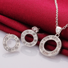 Fashionable Party Designs 925 Sterling Silver Round Locket Necklace Jewelry Set