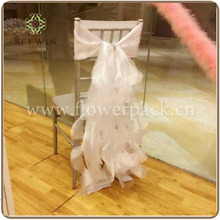 organza chair hood cover with draping curls/ruffles, wedding chair hood sash