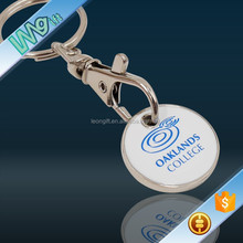 Custom Shopping Metal Trolley Coin Keyring For Supermarket